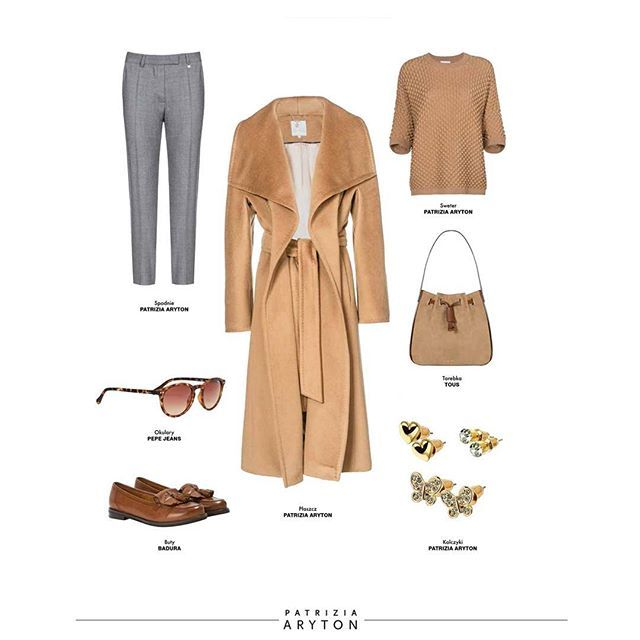 Today's outfit #patriziaaryton #aryton #polishbrand #womenfashion #styling #natural #fabrics #wool #cashmere #coat #newcollection #newin #aw16 #autumn #fall #winter #daily #outfit #totallook #ootd #blouse #trousers #camel #color #grey #accent