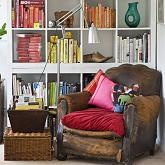 Love the book arrangement.  Why can't our shelves look like this? Oh yes, because we own a bookshop and have too many books to use them as a style statement. Shame...