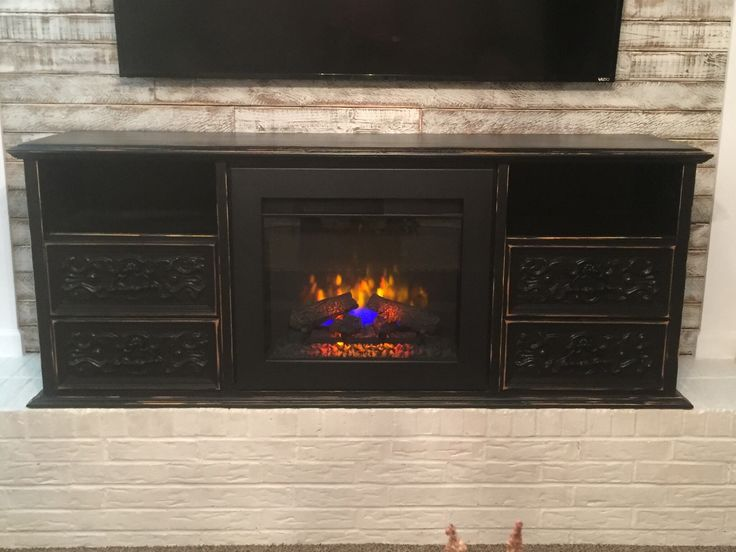 Refurbished Dresser To Electric Fireplace Tv Console