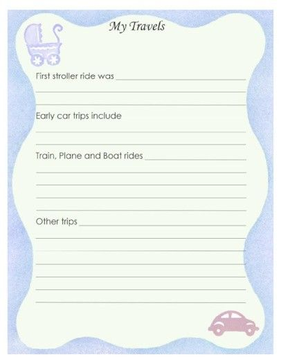"Free Printable Baby Book Page, ""My Travels"""