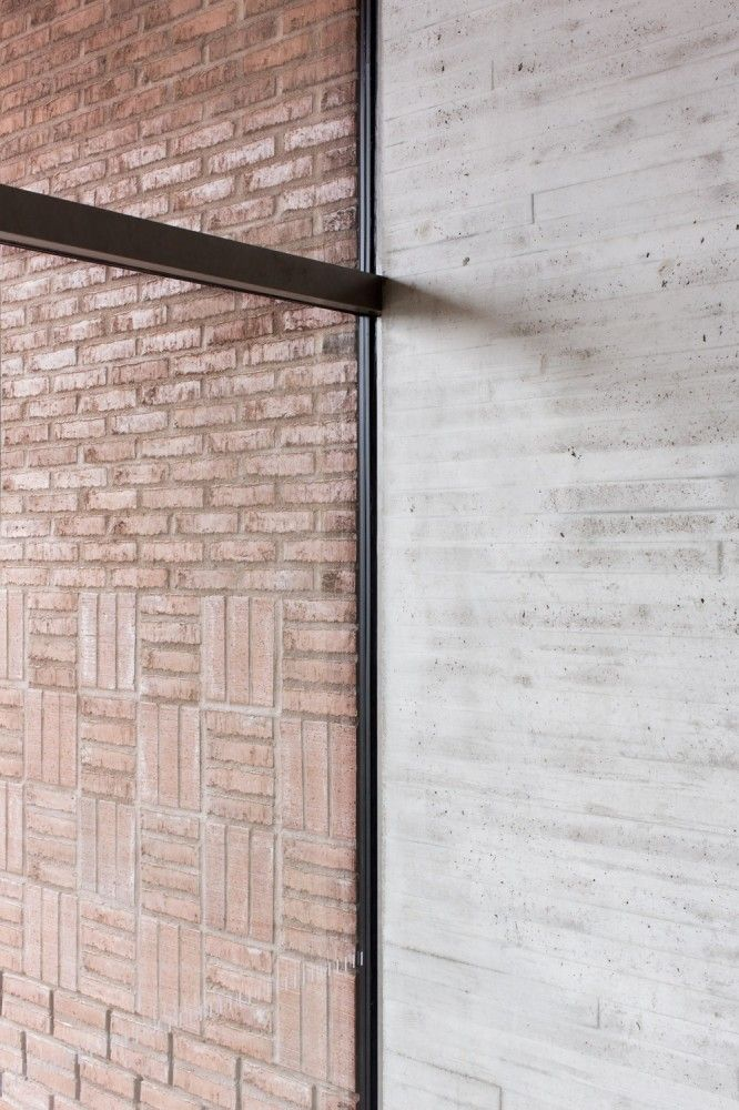 exterior interior + brick concrete contrast  Saunalahti School / VERSTAS Architects-Contrast- inside outside