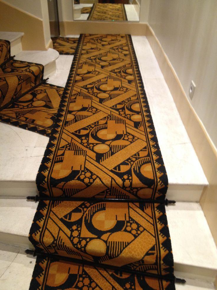 Tapis d'escalier tissé Wilton décor art déco - Prévotat