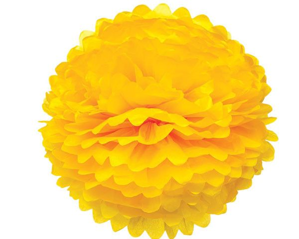 Large Yellow Tissue Paper Pom Pom Pouf