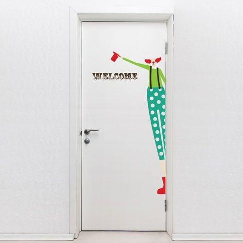 door decal clown this door sign vinyl sticker features a welcome