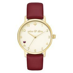 Women's Leather Strap Watch, Burgundy/Cream. Let this watch keep you on time for your social agenda activities.