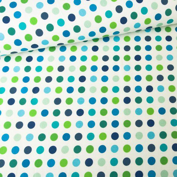 Bawełna 100% Kropki Niebiesko-Zielone - mcolors - Tkaniny wzorzyste