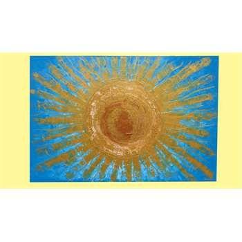 """Quadri Moderni. """" Sole del Salento """" Acrilico spatolato su tela a cassetto; applicazione della tecnica di screpolatura della vernice. Riempimento delle crepe con glitter rame. Nel quadro materico e moderno, il Sole del Salento, dal calore quasi ipnotico, si sovrappone, con il dorato dei suoi raggi, al turchese dello sfondo, risaltando brillantemente."""