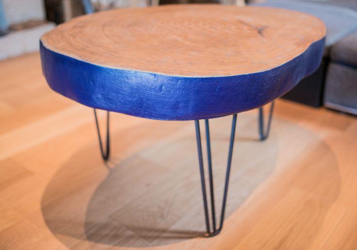 Table Albert Wood bleu cobalt, chêne bicentenaire.