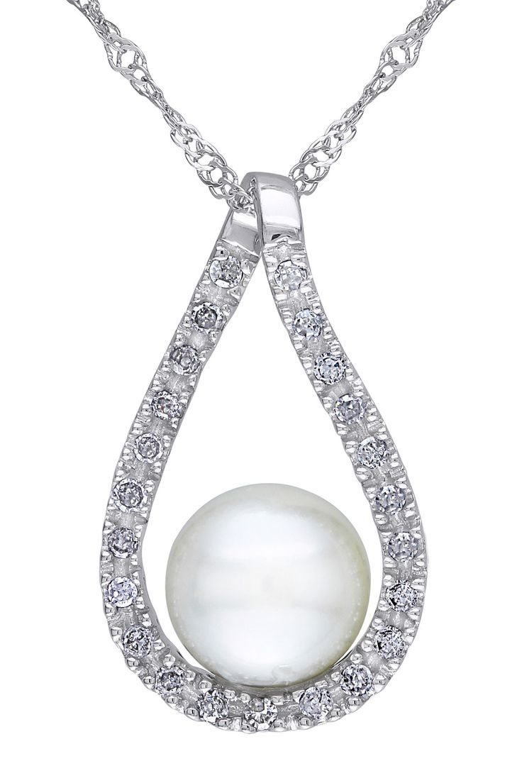 6.5-7mm Freshwater Pearl  Diamond Pendant Necklace