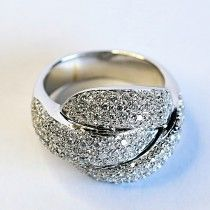 Superb white gold ring with more than one hundred diamond accents. $2810