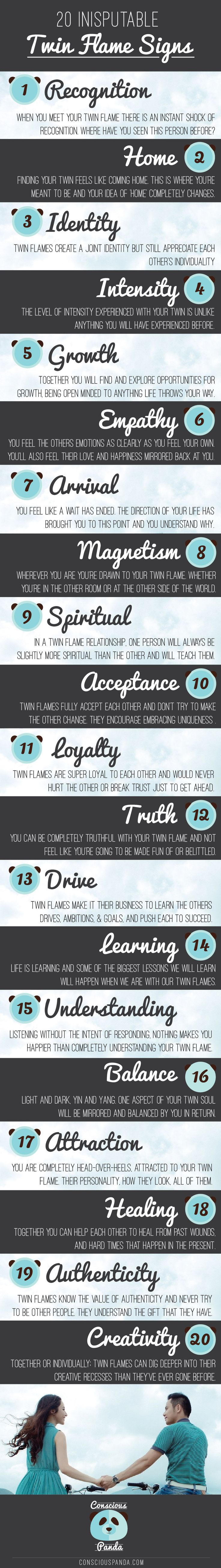 "20 Indisputable Twin Flame Signs - ""1) Recognition. 2) Home. 3) Identity. 4) Intensity. 5) Growth. 6) Empathy. 7) Arrival. 8) Magnetism. 9) Spiritual. 10) Acceptance. 11) Loyalty. 12) Truth. 13) Drive. 14) Learning. 15) Understanding. 16) Balance. 17) Attraction. 18) Healing. 19) Authenticity. 20) Creativity."""
