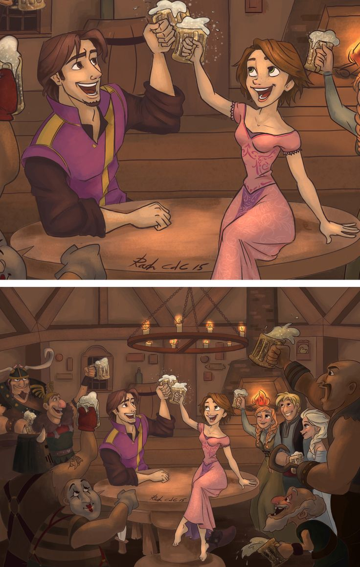 """""""Cause we find ourselves in the same old mess, singing drunken lullabies!!"""" If you like it, help me win this Disney Tangled contest!  :) Just click here, and please vote entry #18  http://www.easypolls.net/poll.html?p=54ea167ee4b0e1cac796c6bc This is for this contest here http://forever-tangledup.tumblr.com/post/111777559852/entry-18-i-included-both-versions-if-it-wins Rapunzel, Flynn Rider / Eugene, and their friends (frozen cast included - anna, elsa and Kristoff) at the snuggly duckling !"""