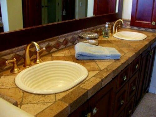 travertine tile countertops