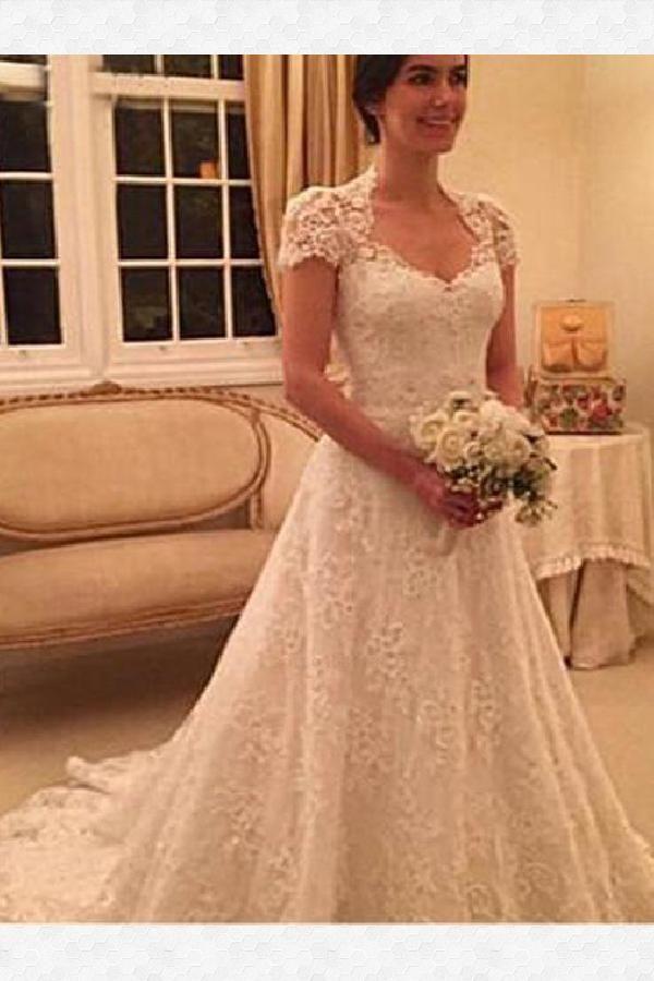 94a95f6e6b42 Wedding Dress Vintage, Lace Wedding Dress, Wedding Dress A-Line, Wedding  Dress With Sleeves #WeddingDressVintage #LaceWeddingDress  #WeddingDressALine ...
