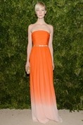 Erin Fetherston wore a tangerine dress with ombre hemline.