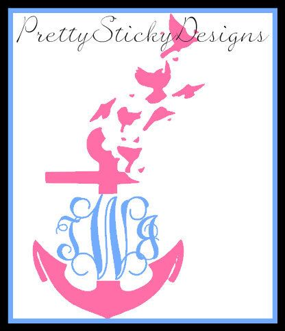Super Cute Anchor With Birds Monogram Sticker car Decal . Made to order. by PrettyStickyDesigns on Etsy