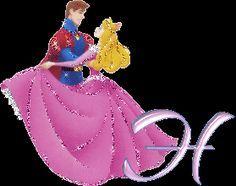 Alfabeto de la Bella Durmiente bailando con el Príncipe.