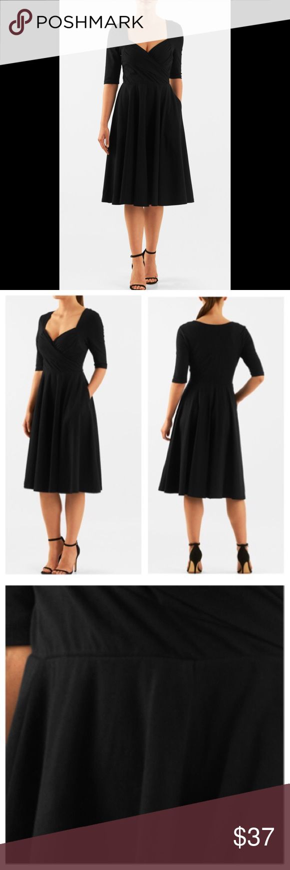 "New Eshakti Black Knit Fit & Flare Dress L 12 New Eshakti black knit fit & flare dress L 12 Measured flat: underarm to underarm: 36"" Waist: 29-34"" Length: 44 1/2"" Sleeve: 13"" Eshakti size guide for 12 bust: 38 1/2"" Slips on overhead, sweetheart neckline, ruched surplice bodice. Seamed light elastic waist, full flared skirt w/ side seam pockets. Cotton/spandex, jersey knit, light structured feel, light stretch, midweight. New w/cut out Eshakti tag to prevent returning to Eshakti eshakti…"