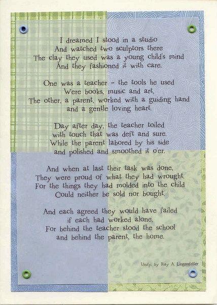 Teacher/Parent Poem   Teacher morale, Poems about school ...