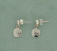 Silver Monogram Earrings With Dangle