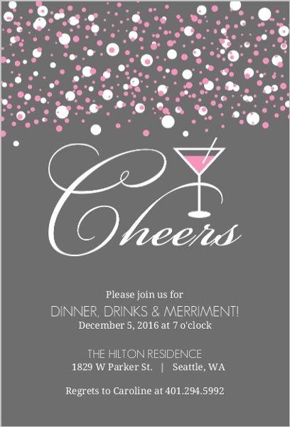 Pink Bubbles Martini Cocktail Party Invitation