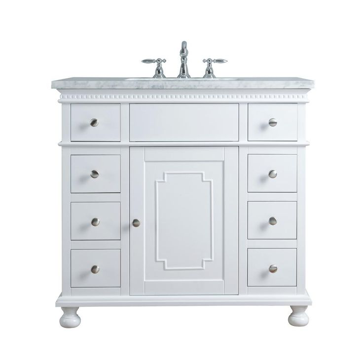 stufurhome 36 in. Abigail Embellished Single Sink Vanity in White with Marble Vanity Top in Carrara with White Basin