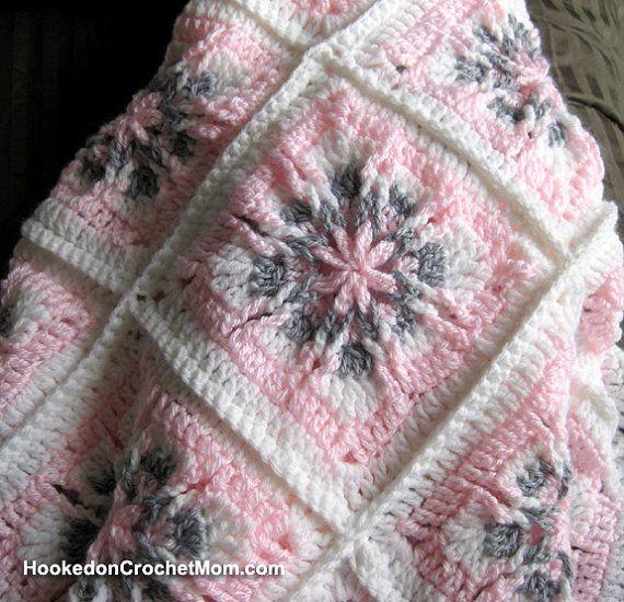 Afghan Granny Square Baby Girl Blanket White Pink Grey Handmade Crochet Shower Gift Home Decor Baby Nursery, $69.95