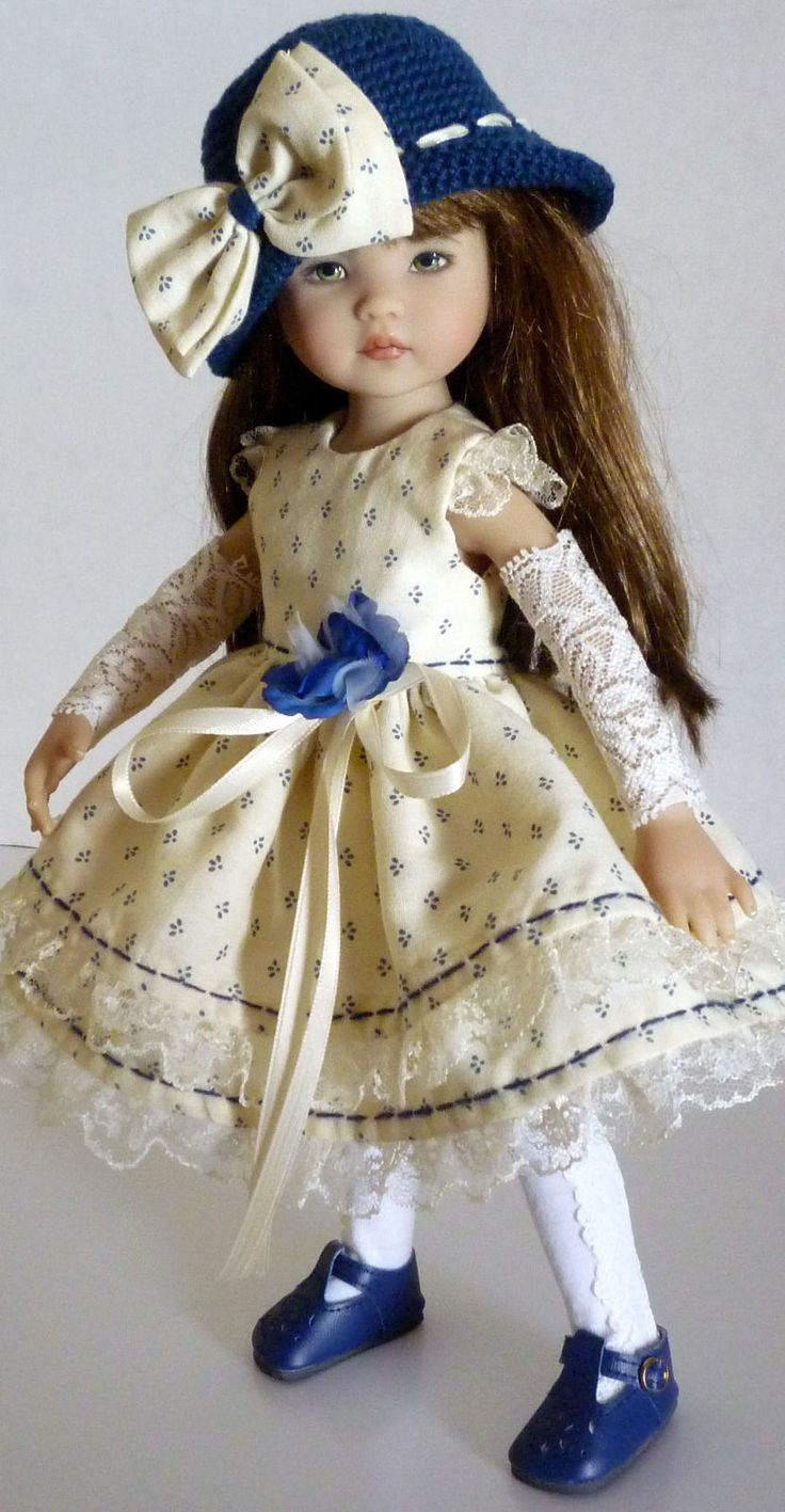 """Fits Dianna Effner Little Darling 13"""" - My Meadow Avery14"""" - Betsy McCall 14"""" - Madame Alexander 13"""" and dolls similar in size and shape. The dress is made of high quality fabric, a dorned with French Lace, a blue rose and ribbon. 