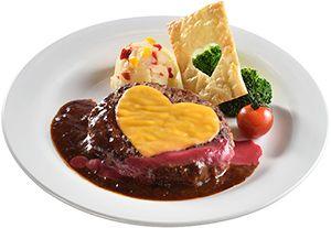Cheese hamburger, Demigurasu & Raspberry Sauce
