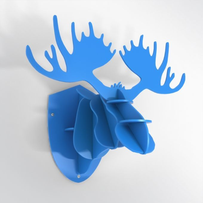 PVC Hunting Trophy - Blue Moose Antlers. Made from PVC foam, cnc cutted. Also available in baltic birch plywood. Designed and made in Québec, by dezz.xyz.