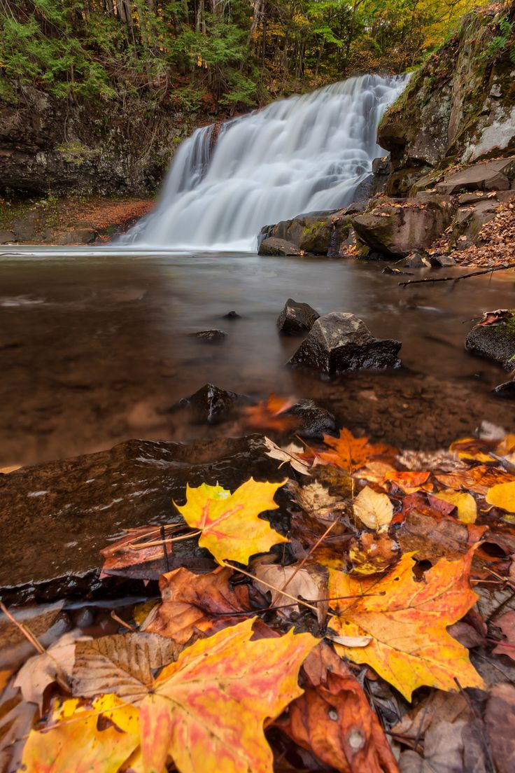 New England Waterfall during the fall season | Wadsworth Falls