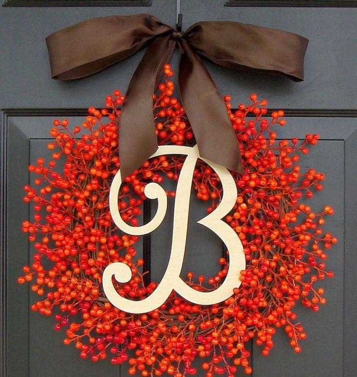 FALL SALE Orange Berry Fall Wreaths, Fall Decor, Berry Wreaths, Thanksgiving Wreath, Halloween Wreath, Thanksgiving Decor, WEATHERPROOF by ElegantWreath on Etsy https://www.etsy.com/listing/162822511/fall-sale-orange-berry-fall-wreaths-fall