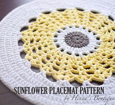 Crochet Placemat Pattern - Sunflower Placemat - PDF                                                                                                                                                                                 More
