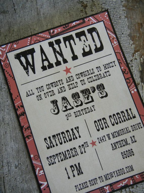 Printable Cowboy Party Invitation Western by PaperRecollectionsAz