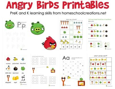 Free Angry Bird learning printables for preschool and kindergarten ages from homeschoolcreations.net