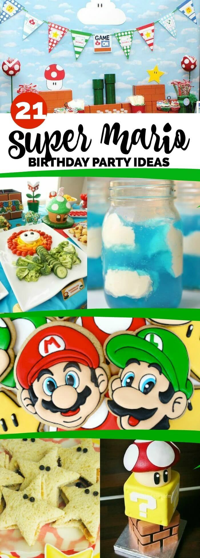 21 Super Mario Brothers Party Ideas and Supplies via @spaceshipslb