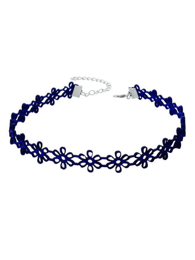 Simple Blue Flower Choker Necklace