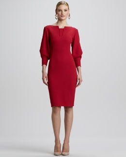 Oscar de la Renta Fitted Puff-Sleeve Dress, Ruby
