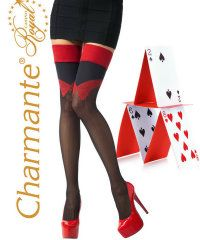 Black and Red Hold Ups by Charmante | Tissue Wrapped - Poshtights.com £14.50