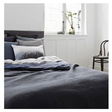 Textiles bed-linen from 100 percent of linen or Jersey dark gray bedspread  by nord mit #bedroom