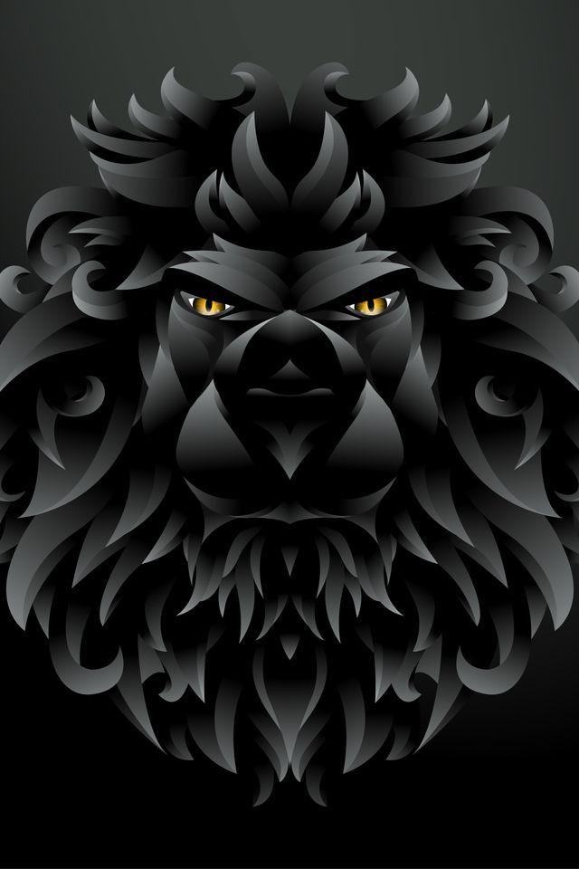 Iphone X Wallpaper Background Screensaver Dark Black Lion Illustration Qs 640960 4k Hd Free Download