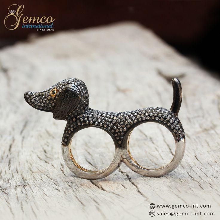 Cute Diamond Puppy Dual Finger Ring  #ring #diamond #jewelry #dog #puppy