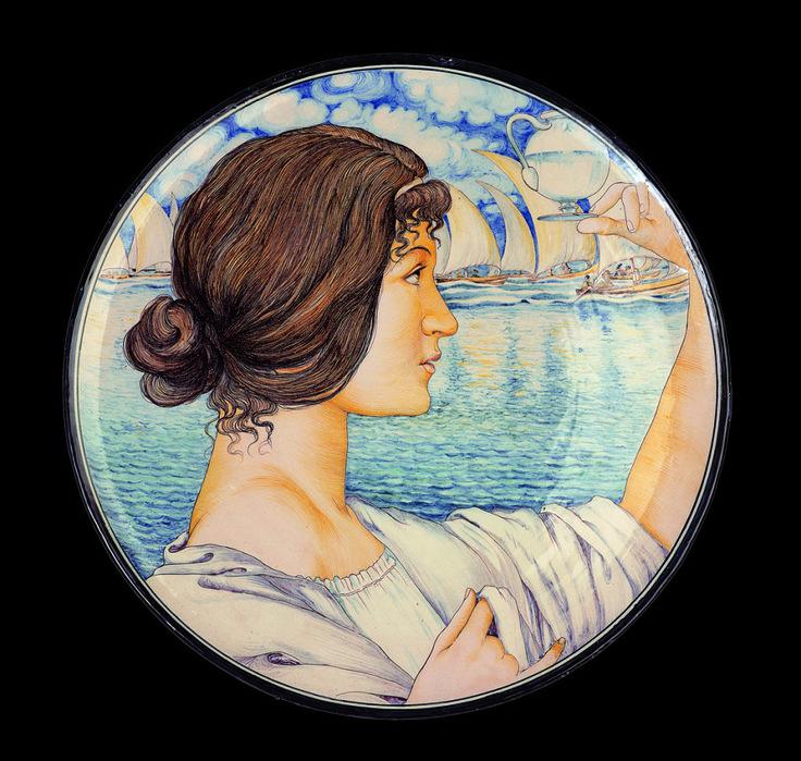 Galileo Chini, Piatto con profilo femminile, 1898-1900, per la manifattura Arte della Ceramica, Firenze - See more at: http://www.tripartadvisor.it/la-fragile-bellezza-ceramiche-italiane-darte-liberty-informale/
