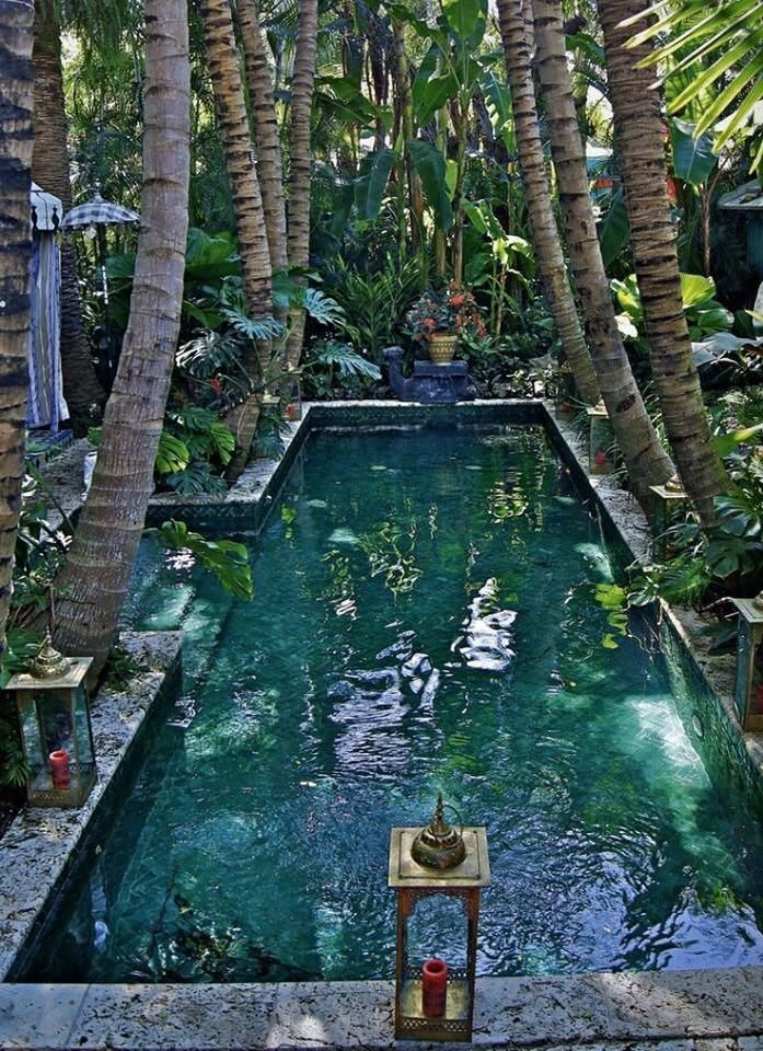 Dig the central step entry to a narrow lap pool