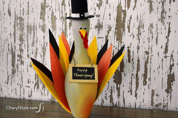 DIY bowling pin turkey craft - CherylStyle