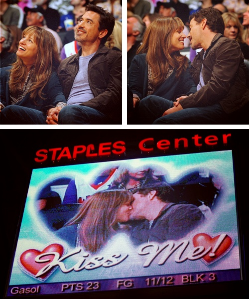 Robert Downey Jr. and Susan Downey get picked out by the L.A. Lakers Kiss Cam.