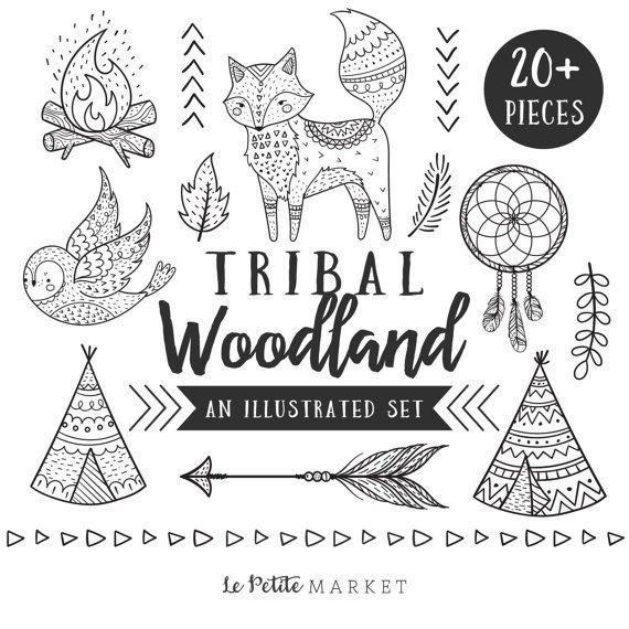 Handgezeichnete Stammes-Wald ClipArt, Tribal Tiere ClipArt, Wald ClipArt, Stammes-Fox, Stammes-Eule, Stammes-Waldtiere Clipart
