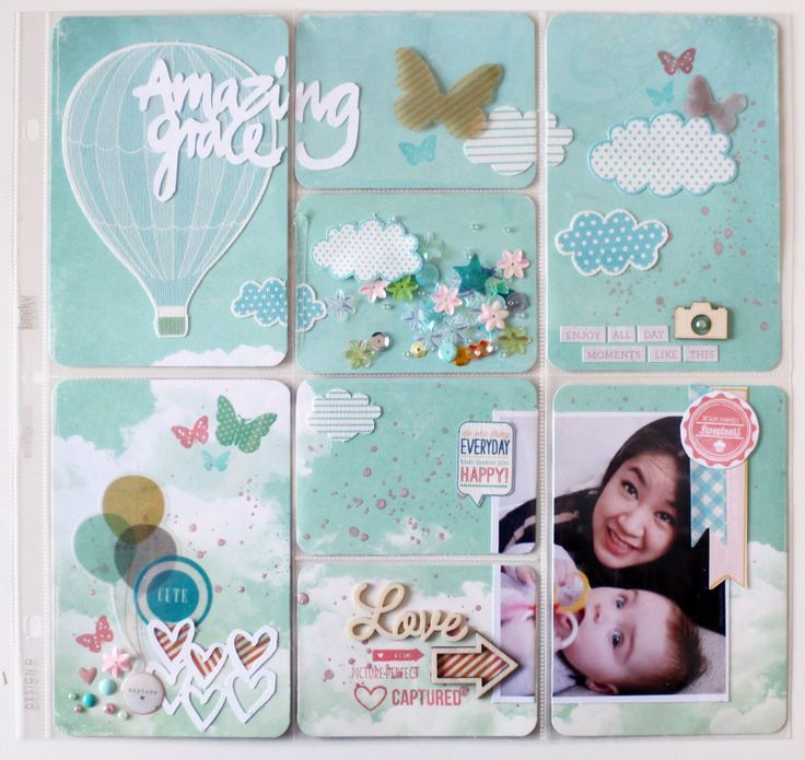Cute page idea using a full page of scrapbook paper cut to fit pockets. I'm thinking...blow it up on various sized canvas for the wall.