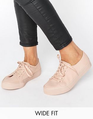 ASOS DESTINY Wide Fit Lace Up Sneakers