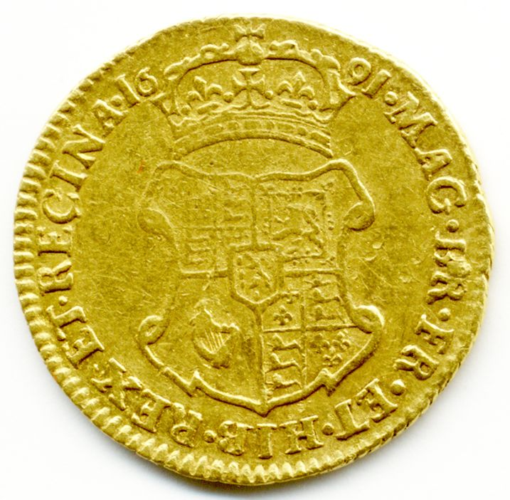 1691 William and Mary, Elephant and Castle, Gold Half Guinea Coin